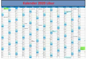 2020 Kalender NasionalFeiertage