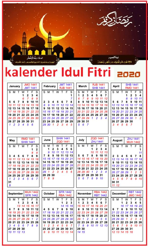 Idul Fitri 2020 Kalender lebaran
