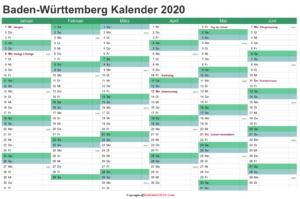 Baden-Württemberg 2020 Kalender Zum Ausdrucken