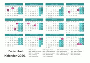 Deutschland 2020 Kalender Excel