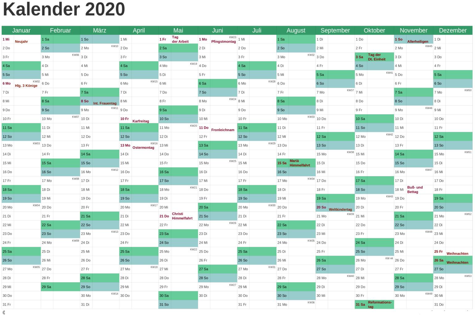 DeutschlandKalender 2020MitFeiertagen