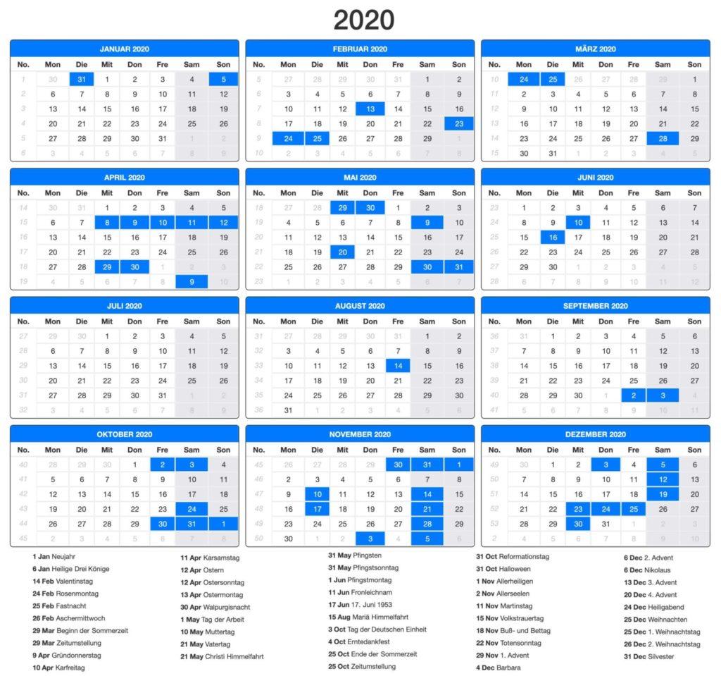 Deutschland 2020 Kalender PDF
