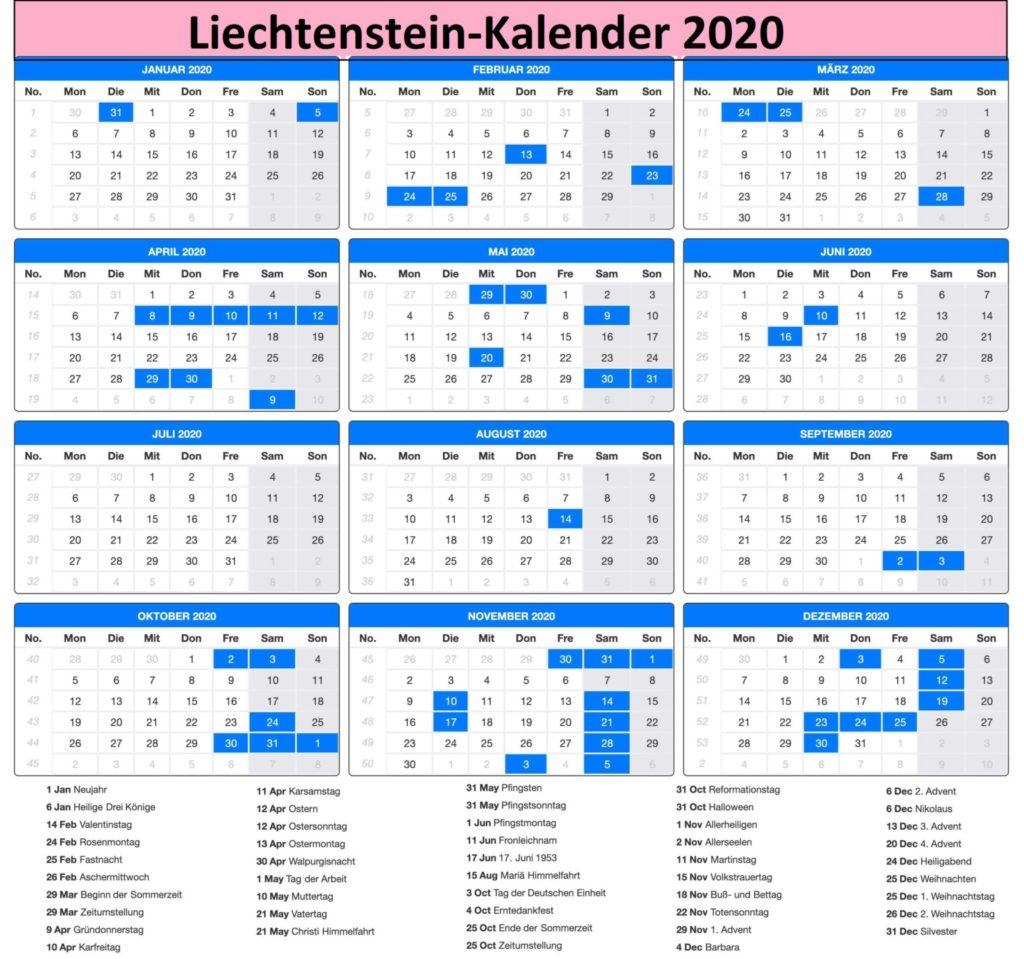 Kalender 2020Liechtenstein