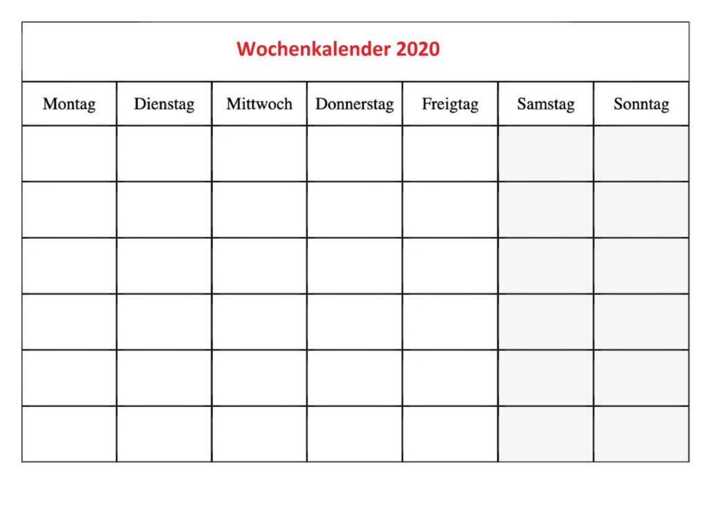 Wochenkalender 2020 Zum Ausdrucken