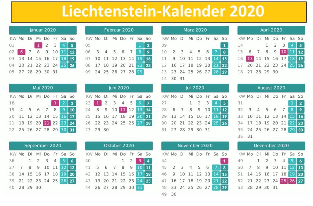 Liechtenstein 2020 Kalender