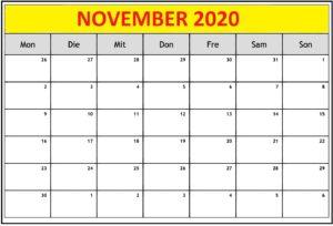 Monatskalender 2020 November Kalender