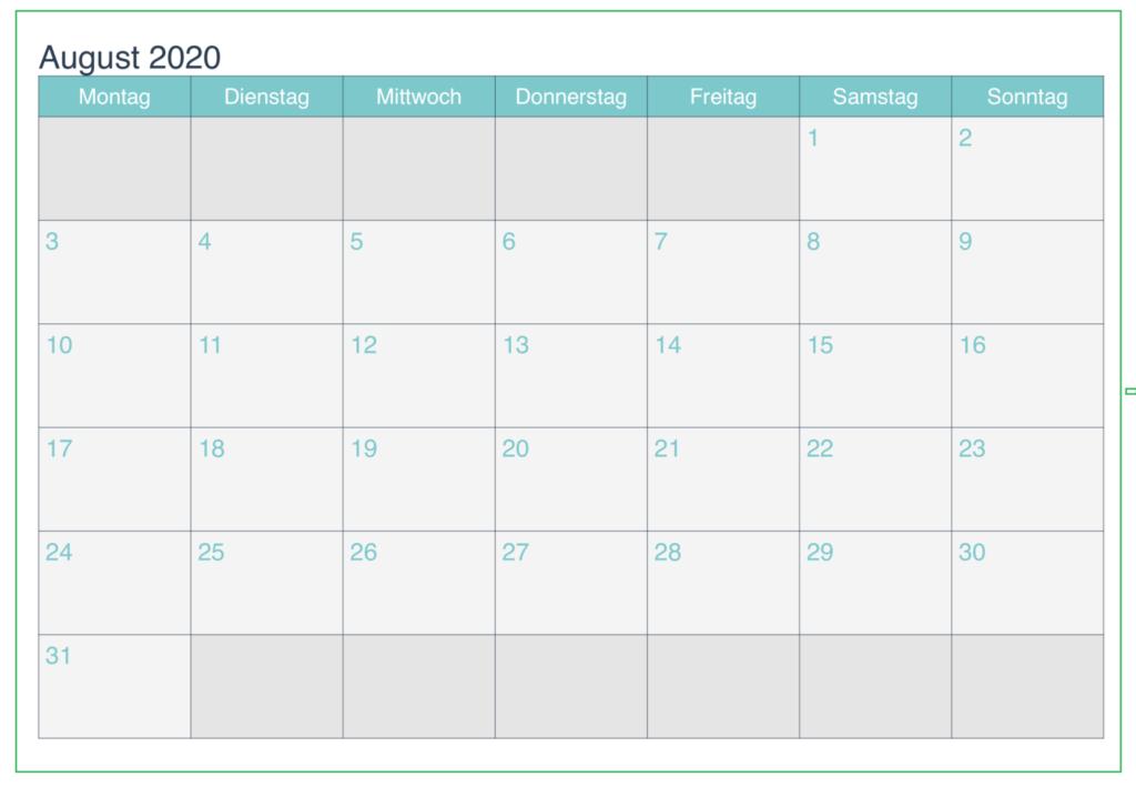 Monatskalender August Kalender 2020