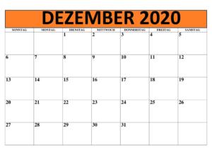Monatskalender Dezember Kalender 2020