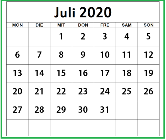 Monatskalender Juli Kalender 2020