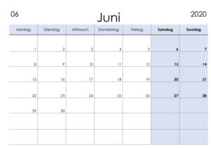 Monatskalender Juni Kalender 2020