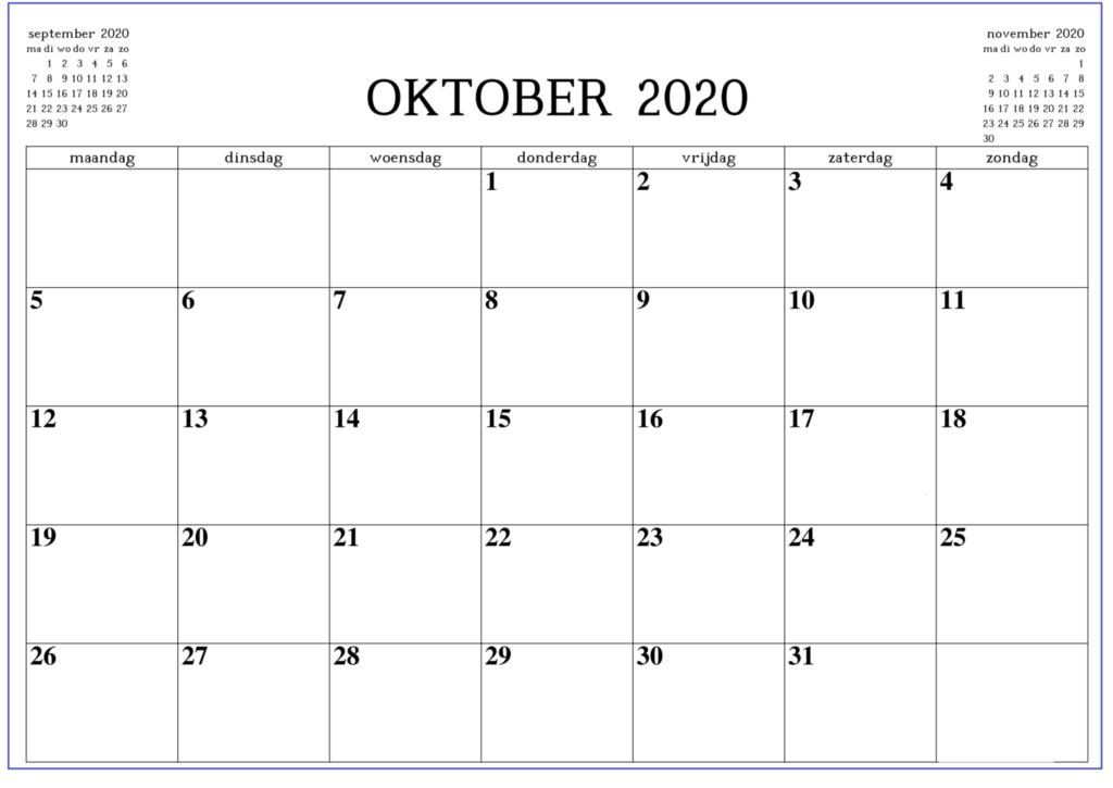 Monatskalender Oktober Kalender 2020