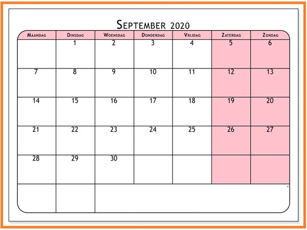 Monatskalender September Kalender 2020