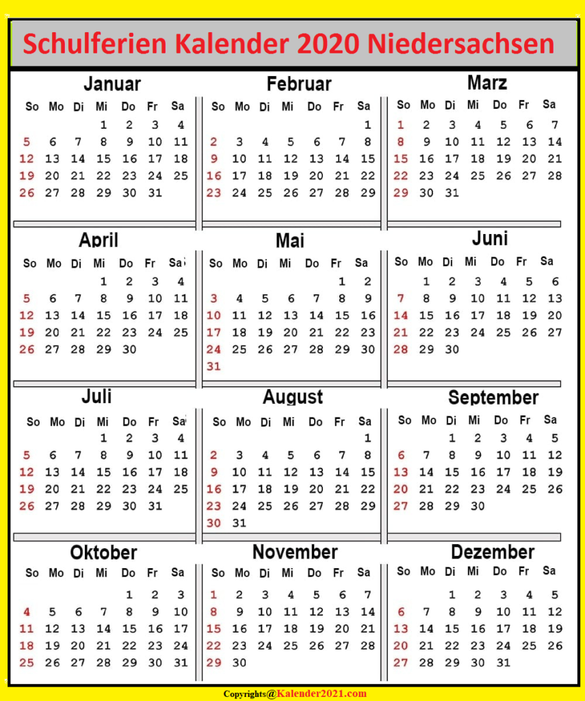Niedersachsen 2020 Kalender Zum Ausdrucken