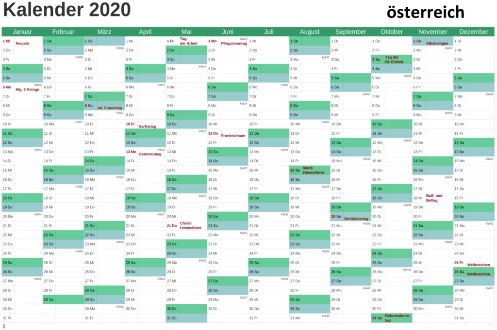 2020 OsterreichKalender Feiertage
