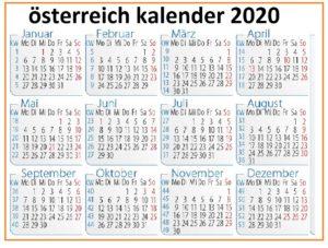 Osterreich 2020Kalender MitFeiertagen