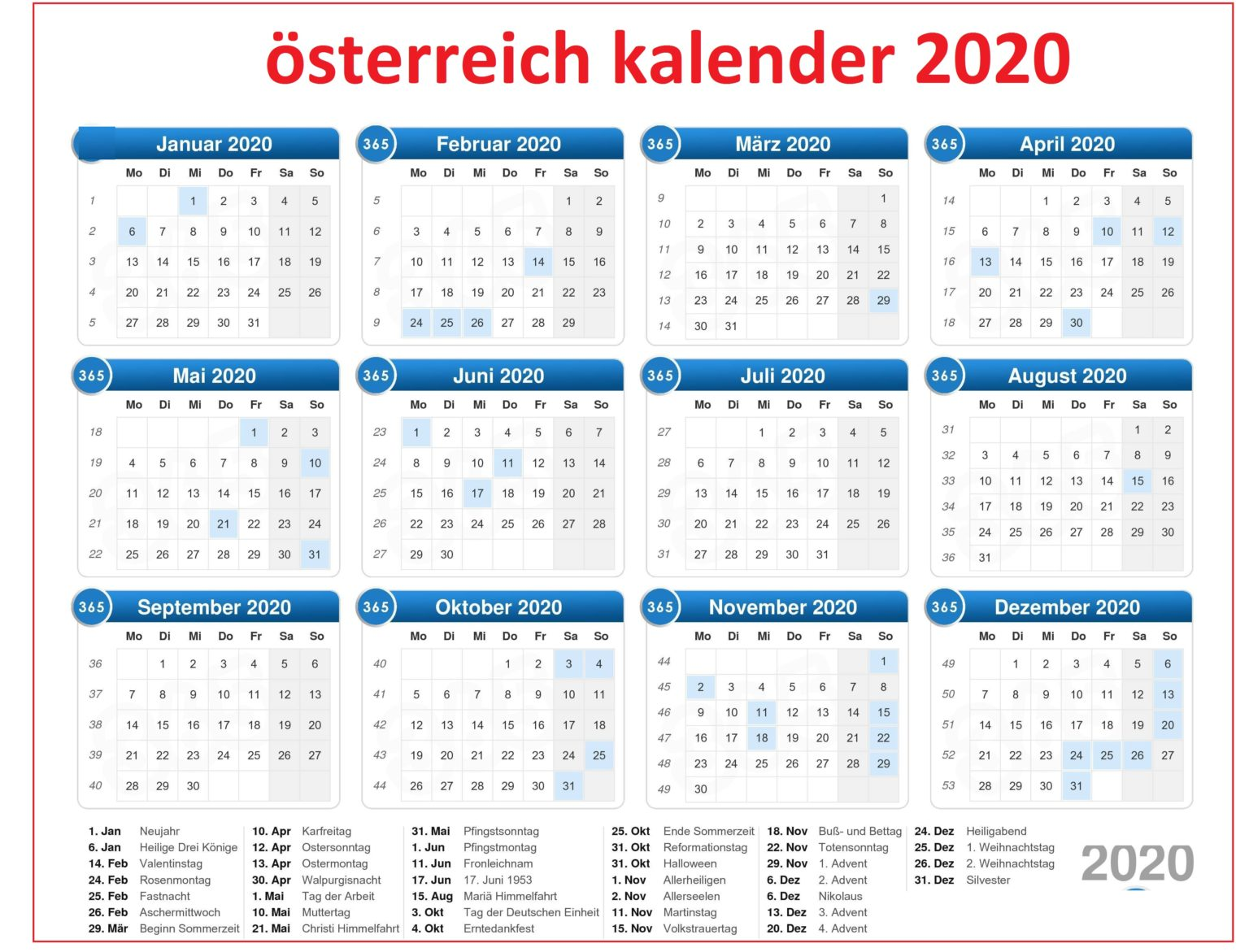 Osterreich 2020Kalenderwochen
