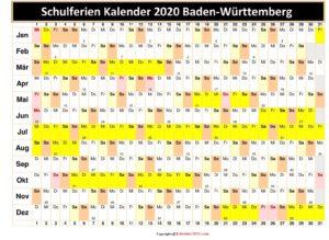 Schulferienkalender 2020 BW Excel