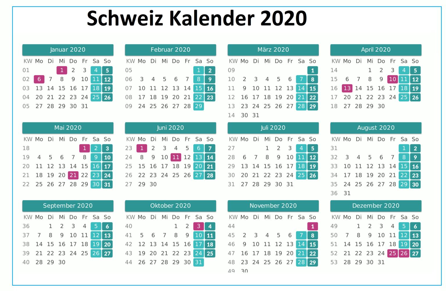 2020 Schweiz Kalender Feiertage