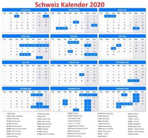Schweiz 2020 Kalender MitFeiertagen