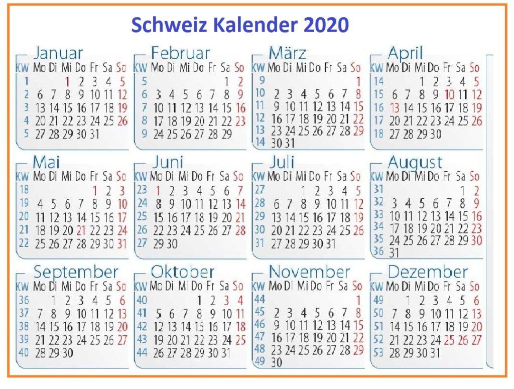 2020 Schweiz Kalender PDF