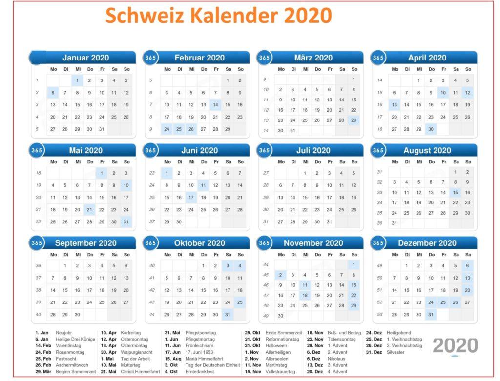 Schweiz 2020 Kalender Zum Ausdrucken