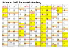 Sommerferien Baden-Württemberg 2022 Kalender