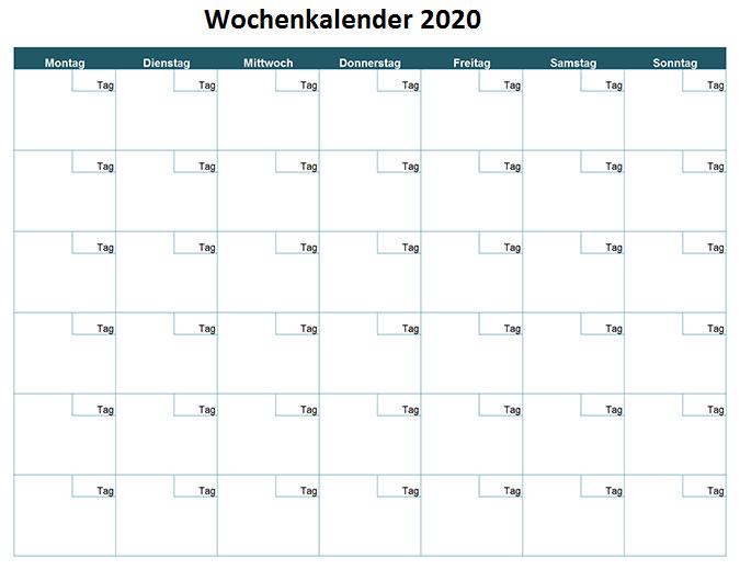 Wochenkalender2020 Excel