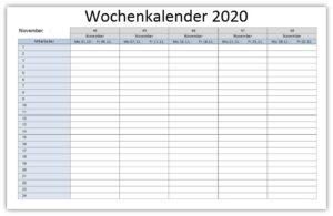 Wochenkalender 2020 Vorlage