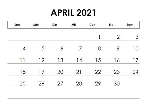 April 2021 Kalender Vorlage