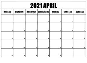 April 2021 Kalender Zum Ausdrucken