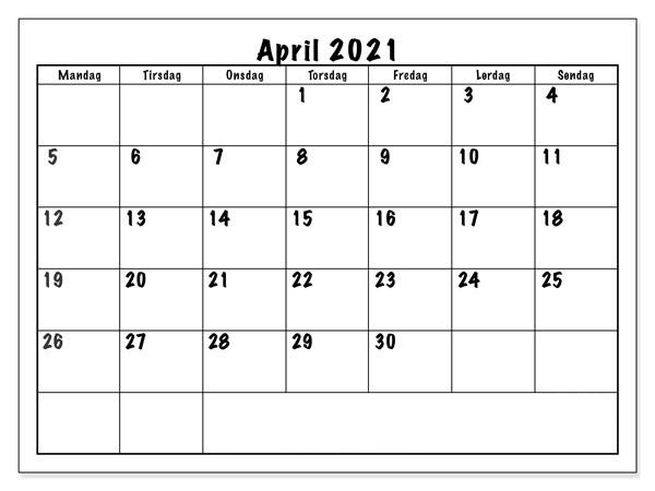 Monats April 2021 Kalender