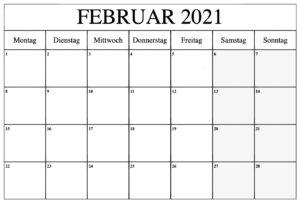 Februar 2021 Kalender