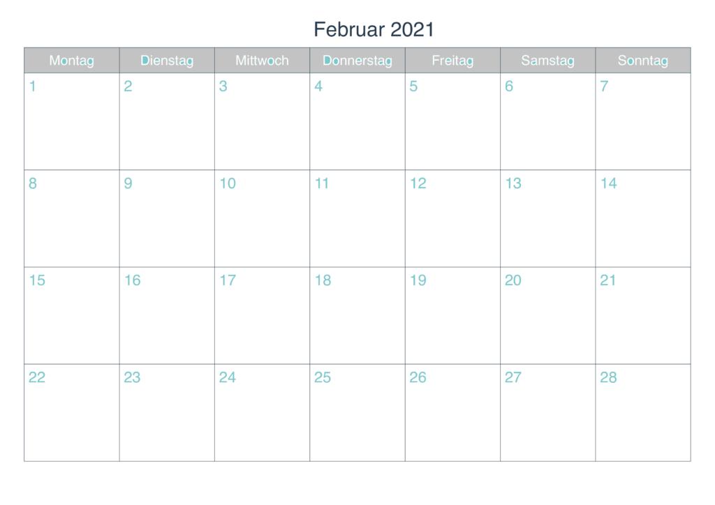 Februar 2021 Kalender Drucken