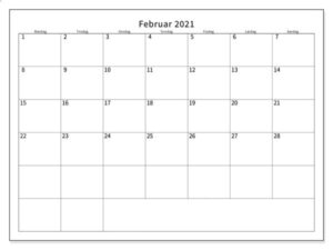 Monats Februar 2021 Kalender