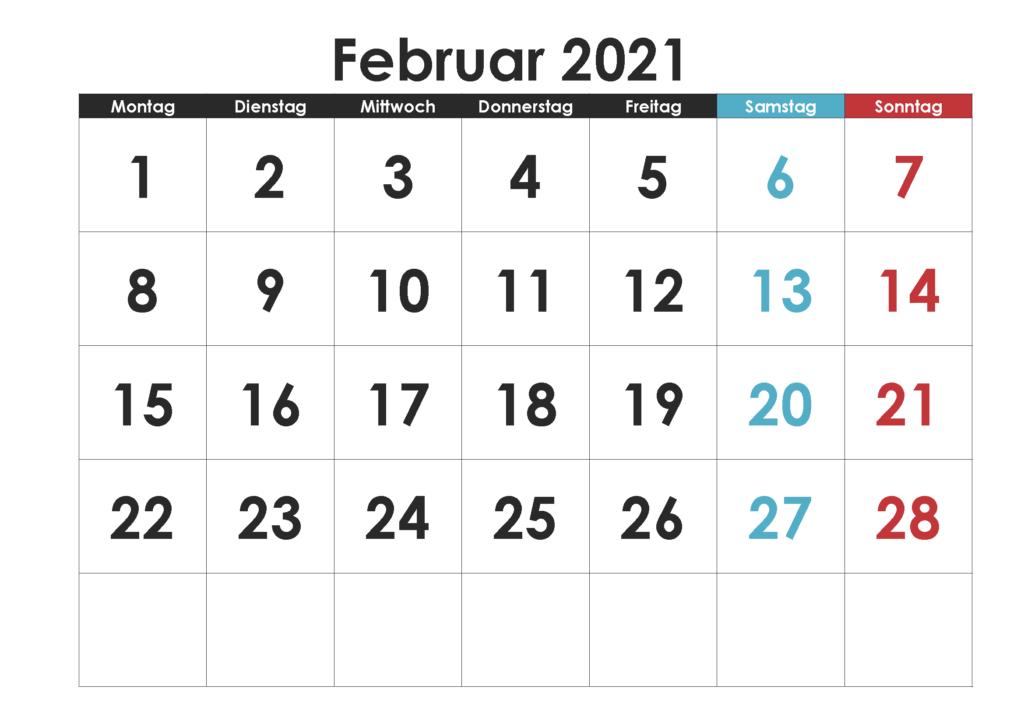 Februar 2021 Kalender Vorlage