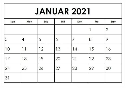 Januar Urlaubs kalender 2021