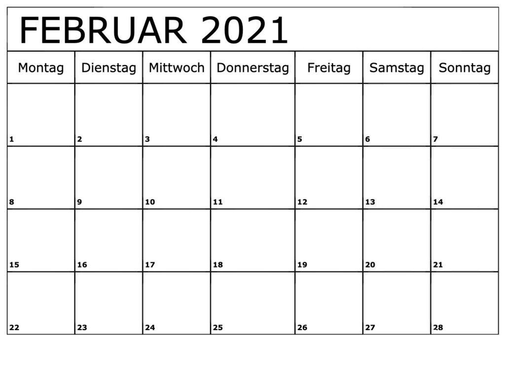 Februar 2021 Kalender Ausdrucken
