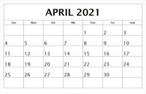 April 2021 Kalender Drucken