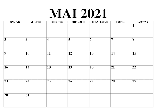 Mai Kalender 2021