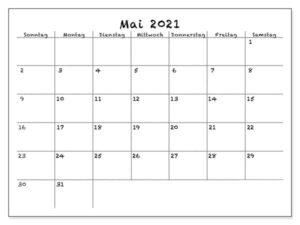 2021 Mai Kalender Mit Notizen