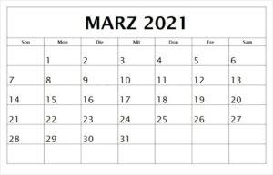 März 2021 Kalender Drucken