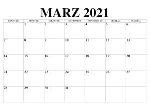 Frei März 2021 Kalender Ausdrucken