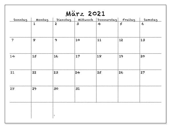 Monats März 2021 Kalender