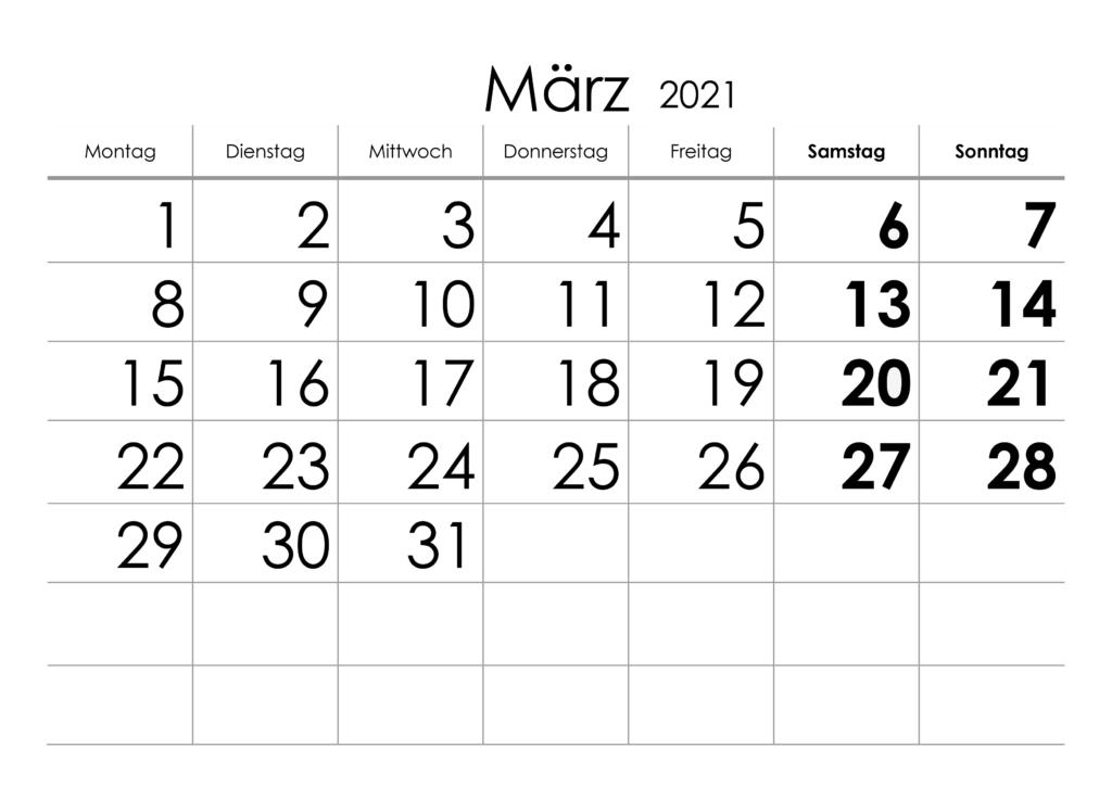 März 2021 Kalender Vorlage