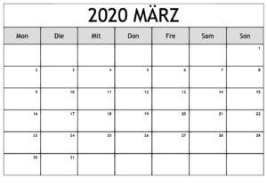 März 2021 Kalender Ausdrucken