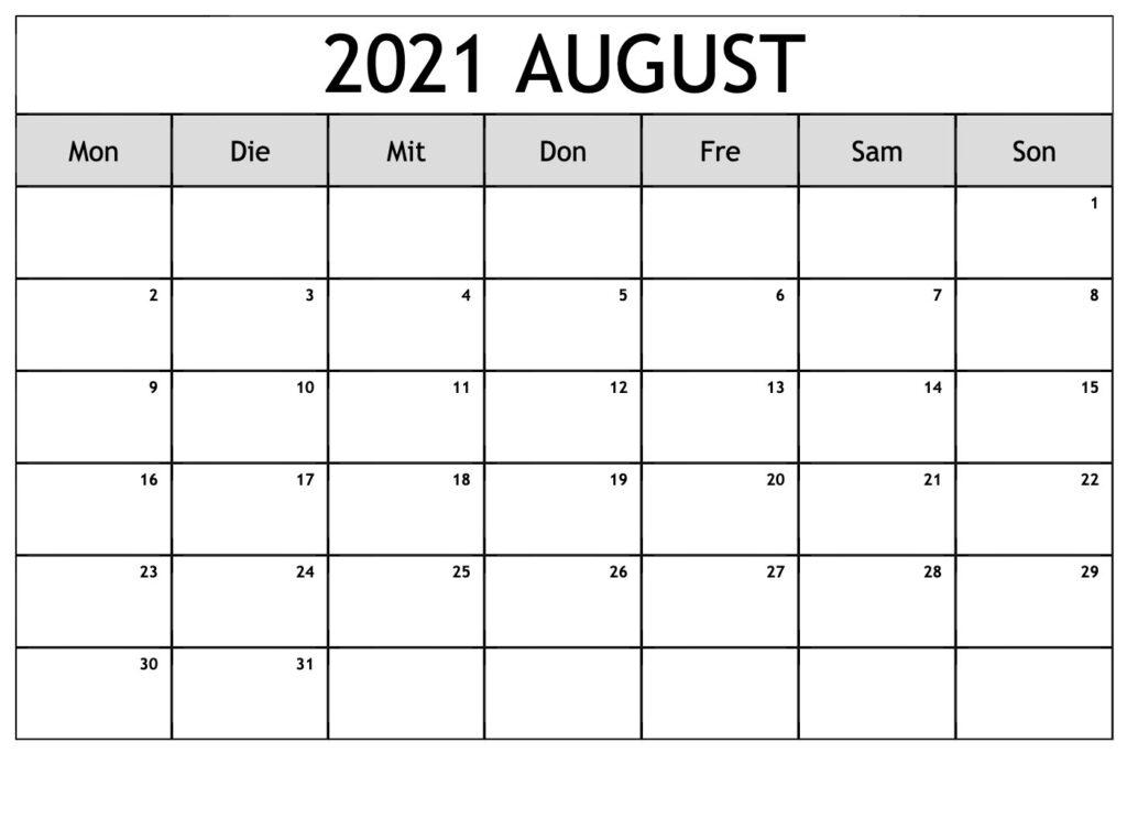 2021 August Kalender Zum Ausdrucken