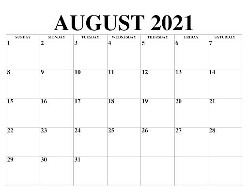 August 2021 Kalender PDF