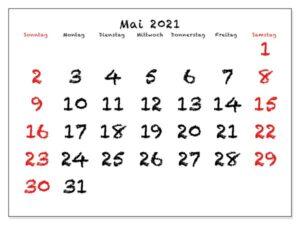 Kalender 2021 Mai Zum Ausdrucken