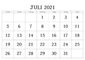 Juli 2021 Kalender Zum Ausdrucken