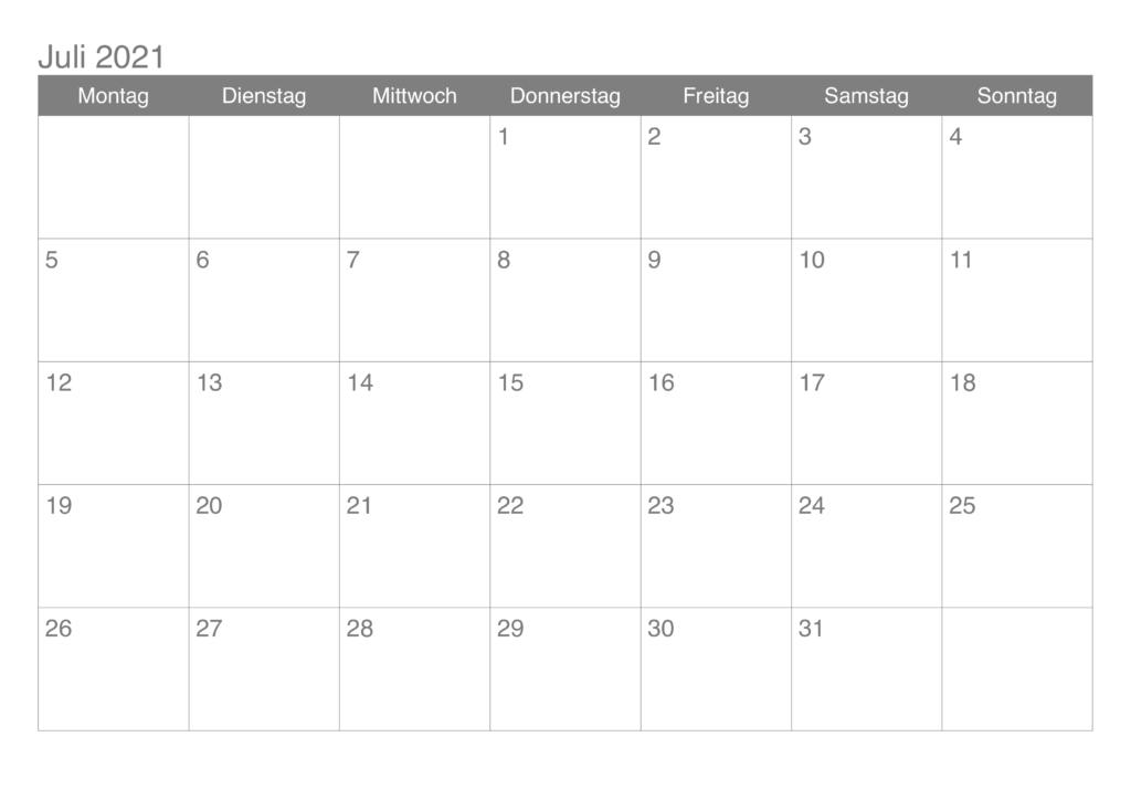 Juli 2021 Kalender PDF